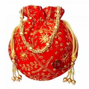 Handbags - Embellished Potli Bags with Beaded Handle